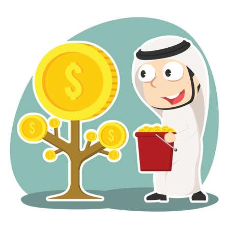 Arabian businessman harvesting coin tree