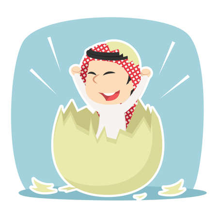 Arabian businessman hatched from egg Illustration