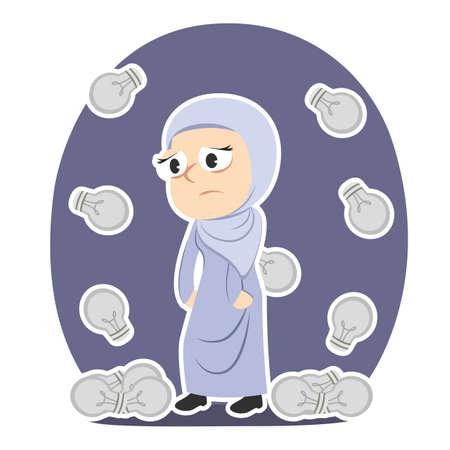 Tired arabian businesswoman with dim bulbs raining Çizim