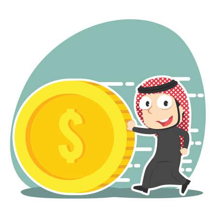 Arabian businessman pushing coin illustration design