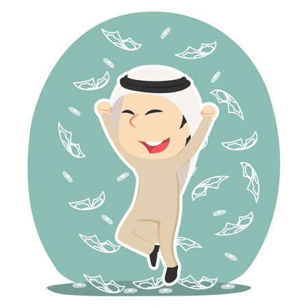 Arabian businessman raining money illustration design Illustration