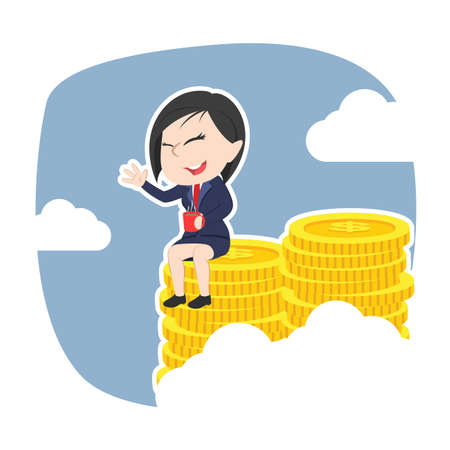 Asian businesswoman siting on pile of coins illustration. Illustration