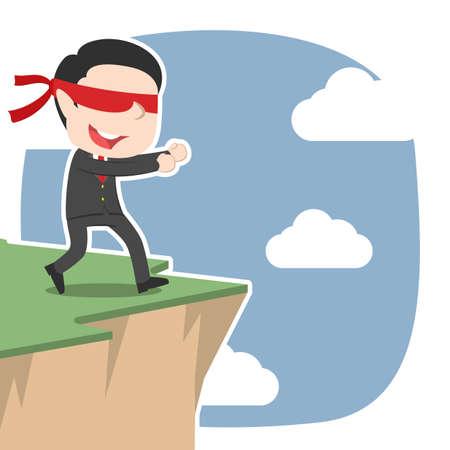 Blindfolded asian businessman walking to cliff edge Ilustrace