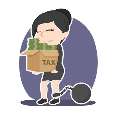 Asian businesswoman with box of money chained to tax