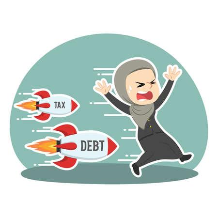 Arabian businesswoman chased tax debt rocket Ilustração