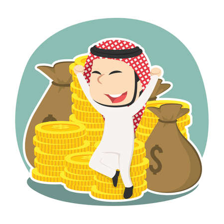 Happy arabian businessman sitting on pile of money Illustration