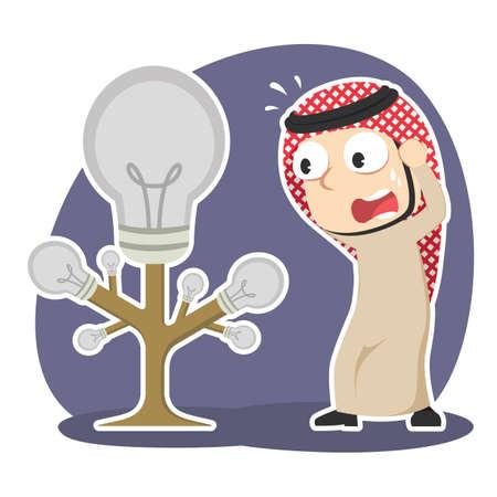 Arabian businessman panic, his idea tree died illustration.
