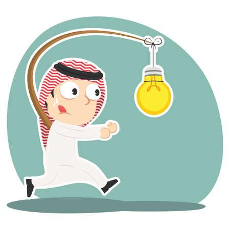 Arabian businessman is chasing bulb