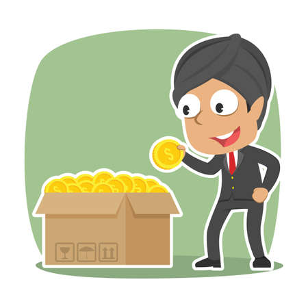 Indian businessman choosing fortune coin from his coin box