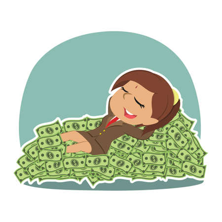 Indian businesswoman sleeping on money bed Illustration