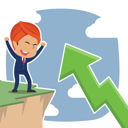 Indian businessman excited see upward arrow from cliff edge Illustration