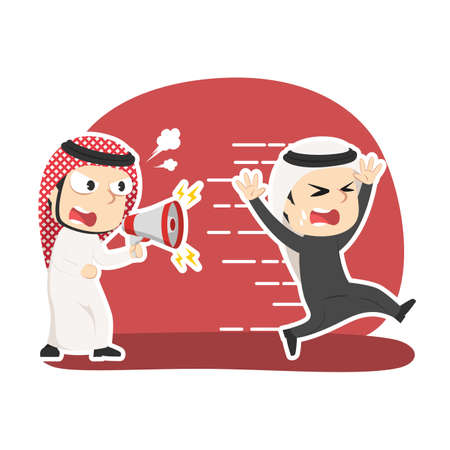 Arabian businessman yelling with megaphone to running employee Illustration