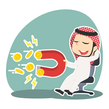 Arabian businessman relaxing using magnet to attract coin Illustration