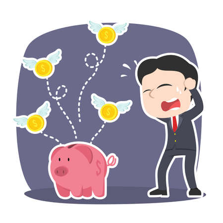 Asian businessman panic because his coins fly away from piggy bank