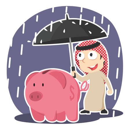 Arabian businessman protecting piggy bank with umbrella