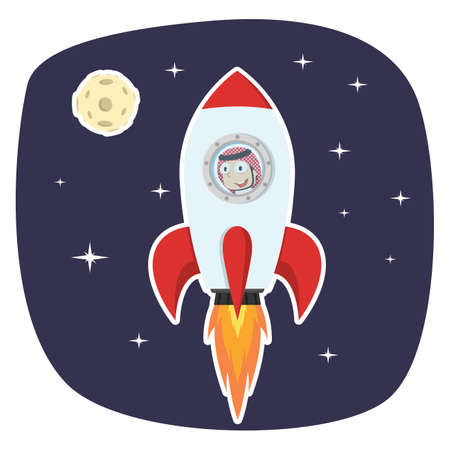 Arabian businessman rocket in space Illustration