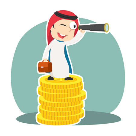 Super arabian businessman using binocular on top of coins