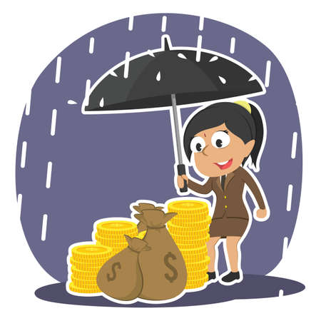 Indian businesswoman protecting his money with umbrella
