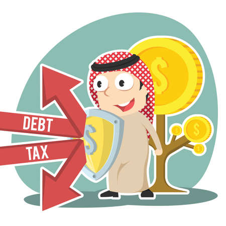 Arabian businessman protecting coin tree form debt and tax Illustration