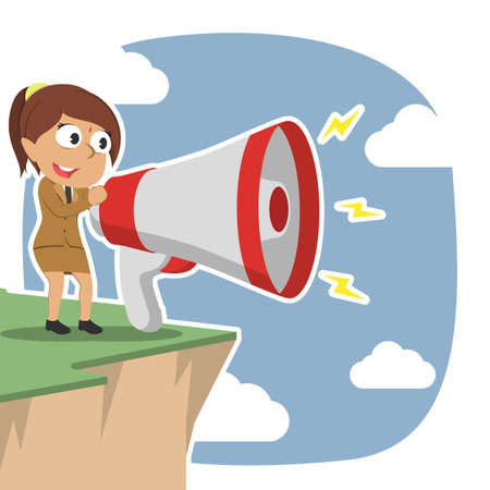 Indian businesswoman shouting with big megaphone on cliff edge Illustration