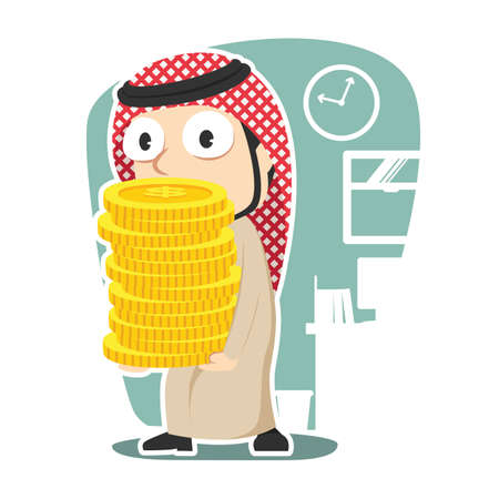 Arabian businessman holding pile of coins