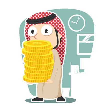 Arabian businessman holding pile of coins