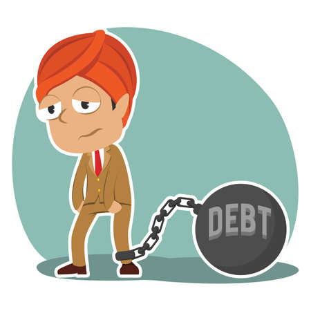 Indian businessman tied with debt iron ball Illustration