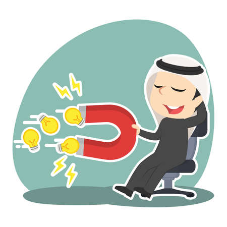 Arabian businessman relaxing using magnet to attract ideas