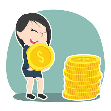 Asian businesswoman pile up coins Illustration