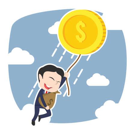 Homme d'affaires asiatique s'envoler avec sa richesse