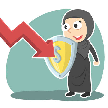 Arabian businesswoman blocking down graph with shield Illustration