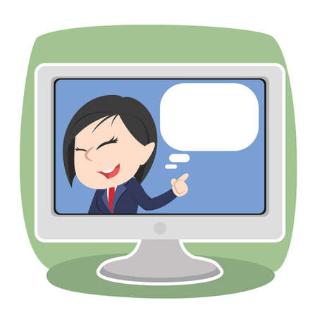 Asian businesswoman inside tv with blank callout