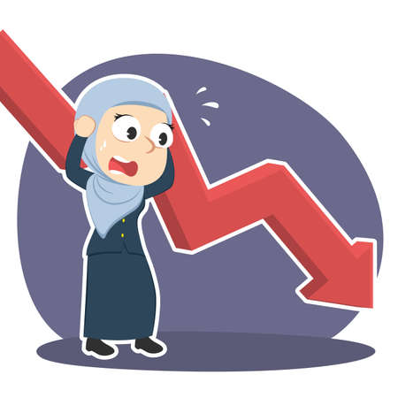 Arabian businesswoman in panic with down graph vector illustration