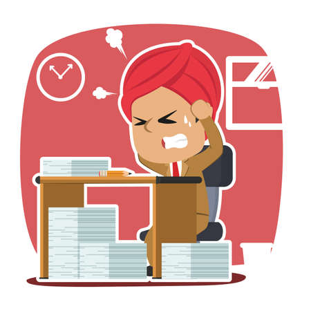 Indian businessman stressed out while work