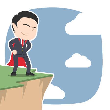 Super asian businessman standing on cliff edge