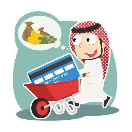 Arabian businessman with credit card in wheelbarrow