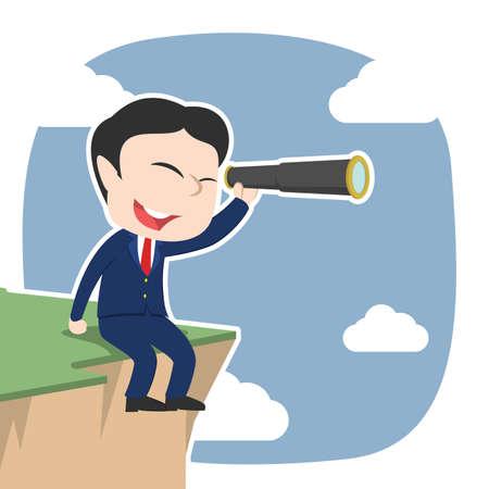 Asian businessman sitting on cliff edge and using telescope. Illustration