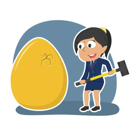 Indian businesswoman want to break her golden eggs illustration.
