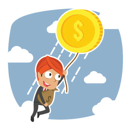Homme d'affaires indien s'envolant avec son illustration vectorielle de richesse Vecteurs