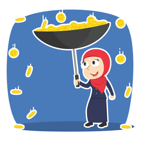 Arabian businesswoman gather coins with an umbrella vector illustration Illustration