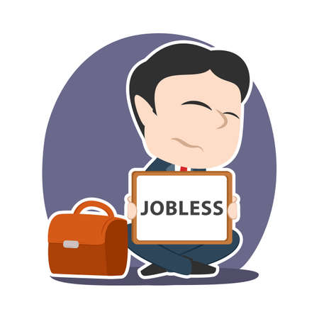Asian businessman with jobless board sign 向量圖像