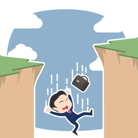 Asian businessman fall from cliff illustration.