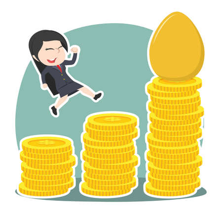 Asian businesswoman climbing coins to get to the golden egg vector illustration