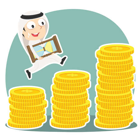 Arabian businessman is climbing coin stairs carrying hourglass
