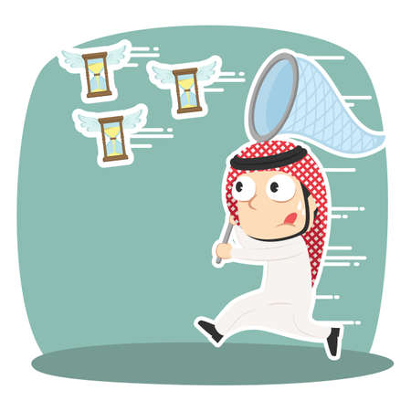 Arabian businessman trying to catch flying hourglass. Illustration