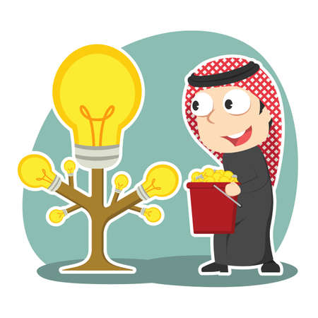 Arabian businessman harvesting idea tree