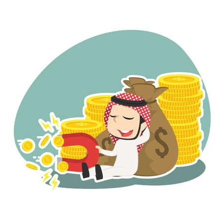 Arabian businessman beside money sack holding coin magnet