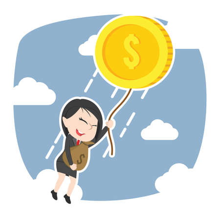 Asian businesswoman fly away with her wealth Illustration