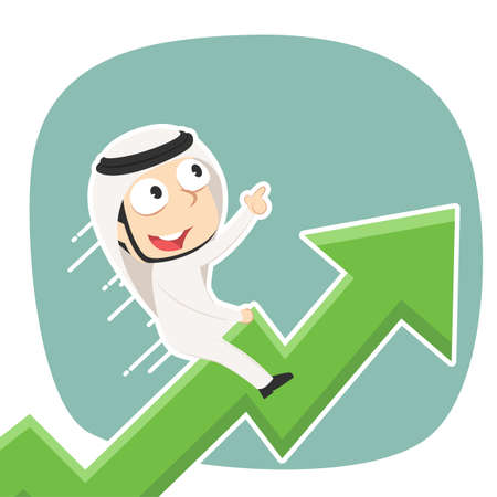 Arabian businessman is riding on raised graph illustration.