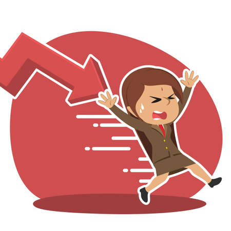Indian businesswoman being chased by down graph Illustration